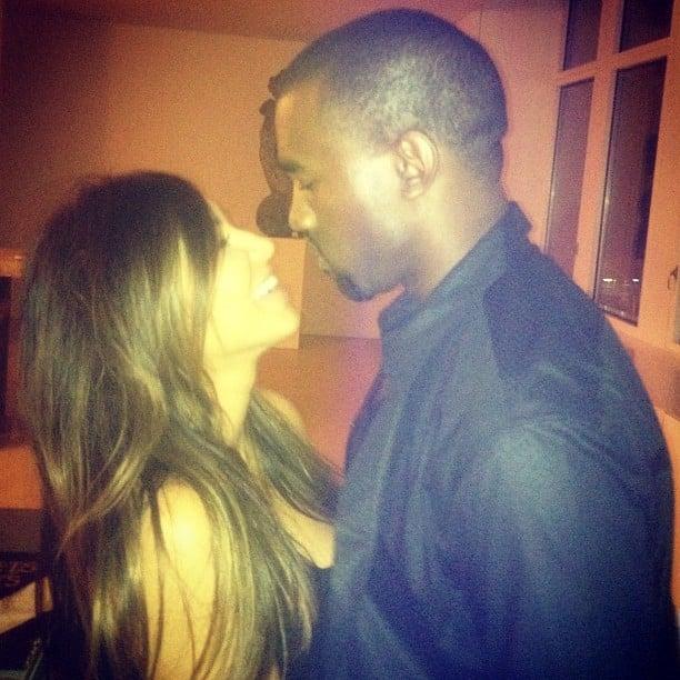 Kim Kardashian and Kanye West were caught sharing a cute kiss. Source: Instagram user kimkardashian