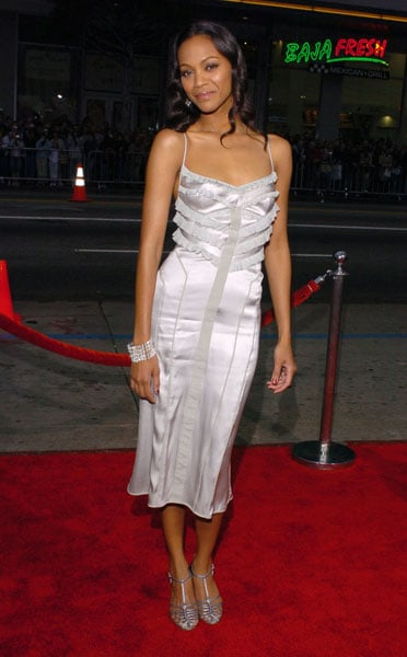 Zoe wore a silver silk dress to the Guess Who premiere in '05.