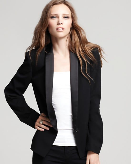 Top off your party pieces with a jacket that's just as statement-making. We love marrying the pretty feel of our strapless dress with a cool, menswear-style tuxedo jacket, and this Aqua New Tuxedo Blazer ($104, originally $148) is an awesome iteration (and an awesome steal).