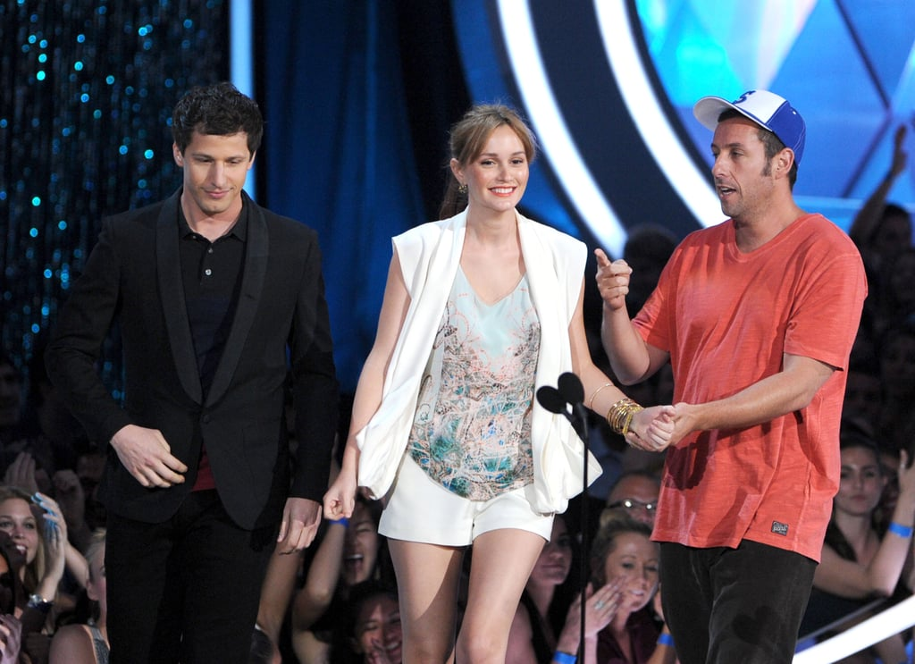 Leighton Meester held hands with her That's My Boy co-stars Andy Samberg and Adam Sandler.