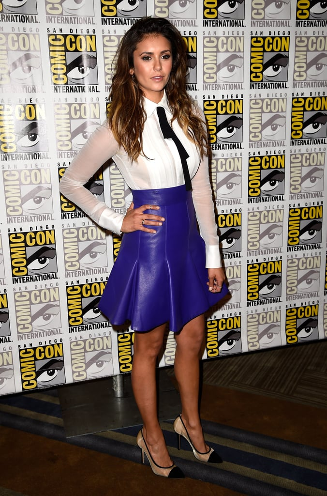 A fun take on the menswear trend, the star went with a bold and bright J. Mendel ensemble, which included a fit-and-flare leather skirt, at the 2014 Comic-Con in San Diego.