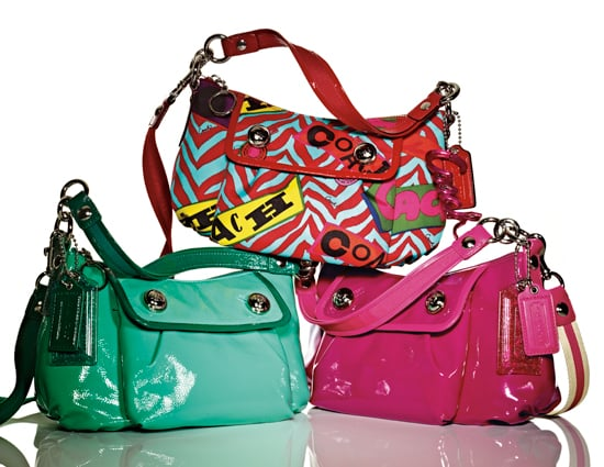 Coach Patent Crossbody ($198)  Patent leather with grosgrain and patent leather trim  Coach Graffiti Groovy Bag ($198)   Neon zebra stripe with graffiti-logo-printed fabric and leather trim