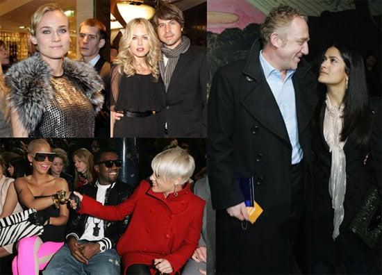 Photos of Salma Hayek, Diane Kruger, and Kanye West at Stella McCartney, Givenchy and Roberto Cavalli During Paris Fashion Week