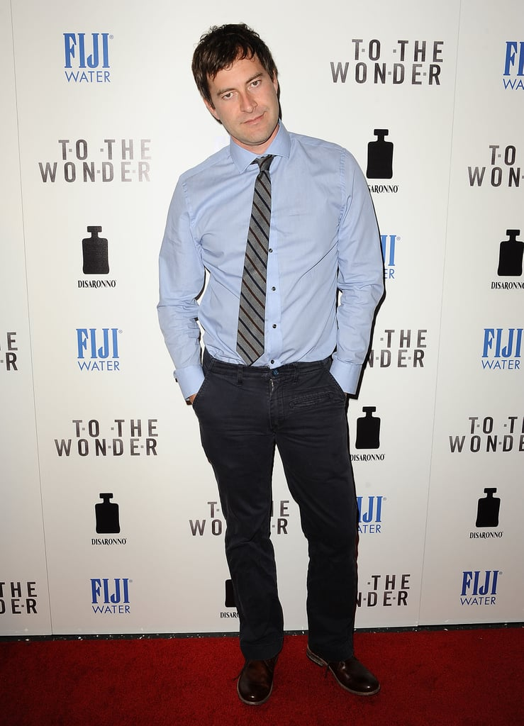 Mark Duplass wore a tie and blue button-down.