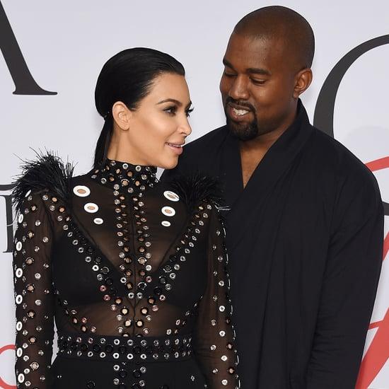 Kim Kardashian and Kanye West at 2015 CFDA Awards