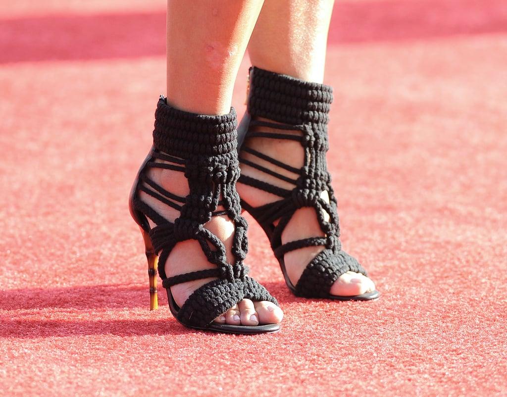 Kim Kardashian wore these amazing crocheted Balmain heels with her printed frock.