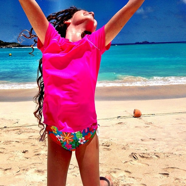 Soleil Moon Frye captured a very happy Poet jumping for joy on vacation. Source: Instagram user moonfrye