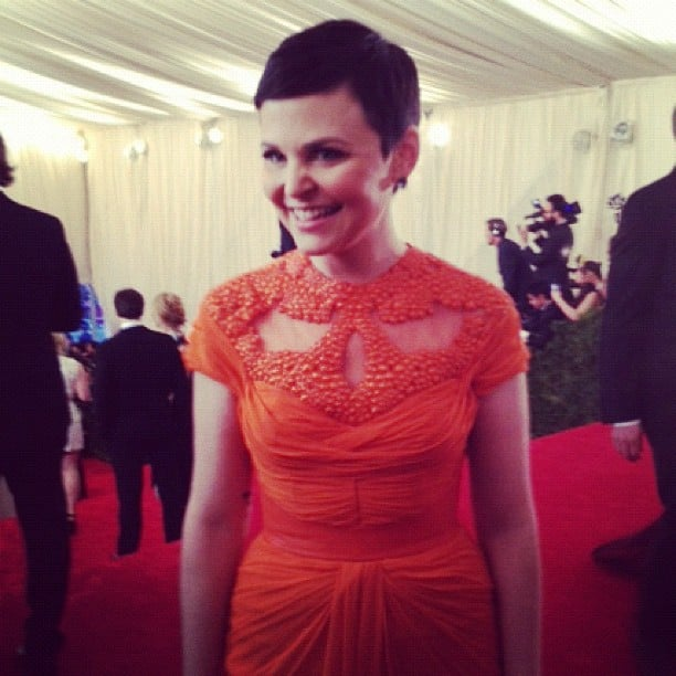 We got an up-close and personal look at Ginnifer Goodwin's gorgeous cap-sleeved orange Monique Lhuillier gown at May's Met Gala in NYC.