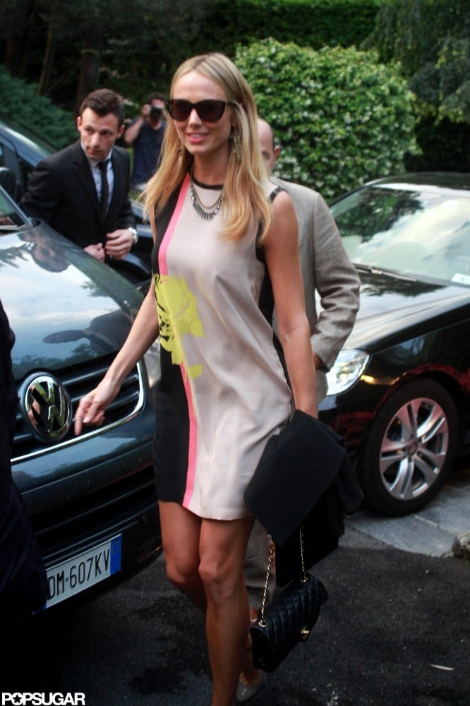 Stacy Keibler wore a colorful dress for a night out in Italy in June.