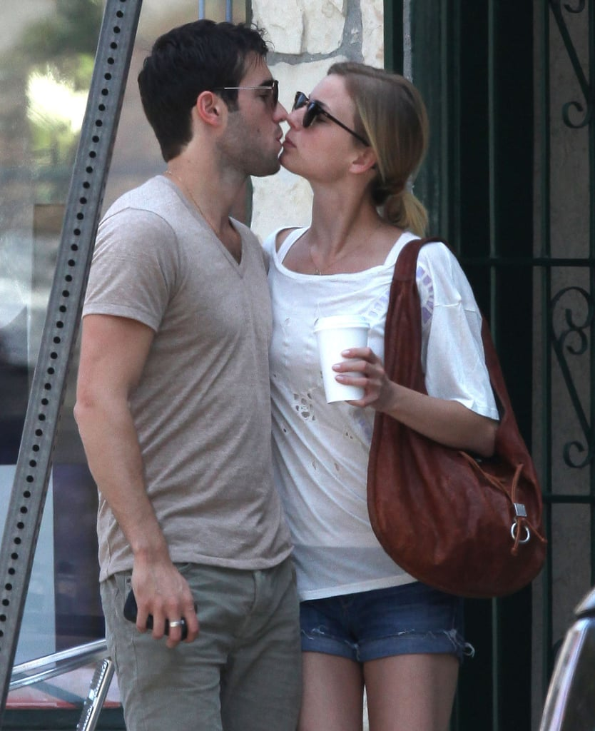 Emily VanCamp and Joshua Bowman kissed outside of brunch in LA.