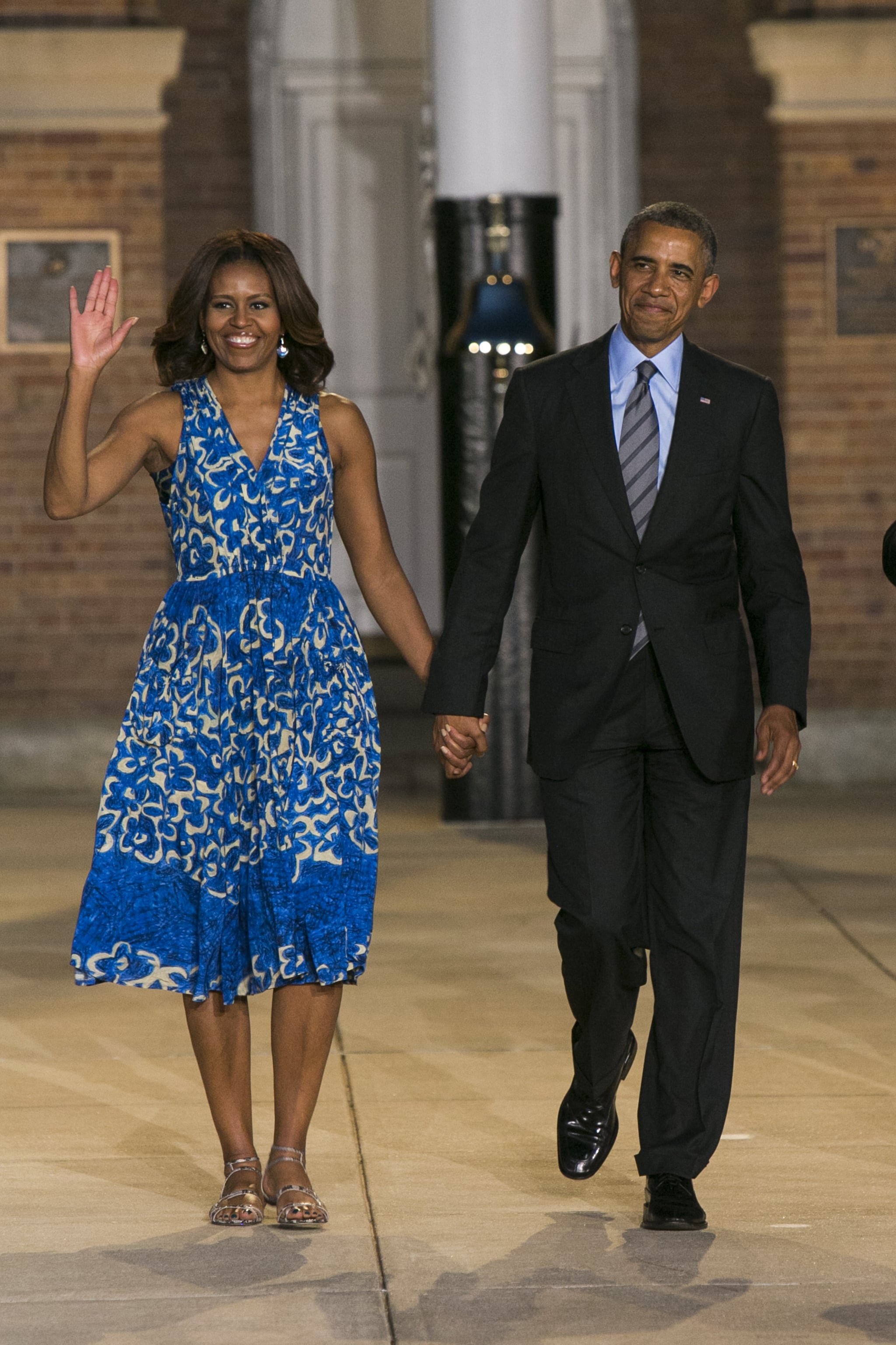This isn't the first time Michelle wore this cobalt, floral-printed Tracy Reese frock. She wore it back in June 2013, but the look feels fresh with a pair of strappy sandals in a contrasting pattern.