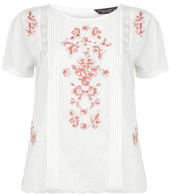 Coral embroidered tee