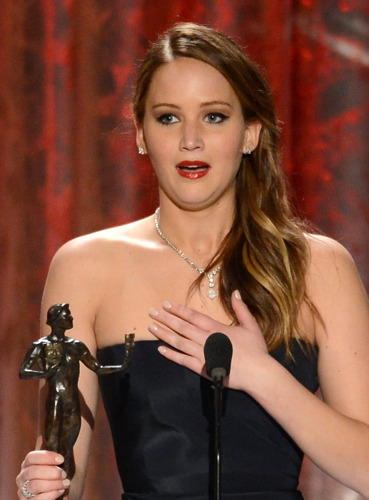 Jennifer Lawrence was honored to accept her statue at the SAG Awards.