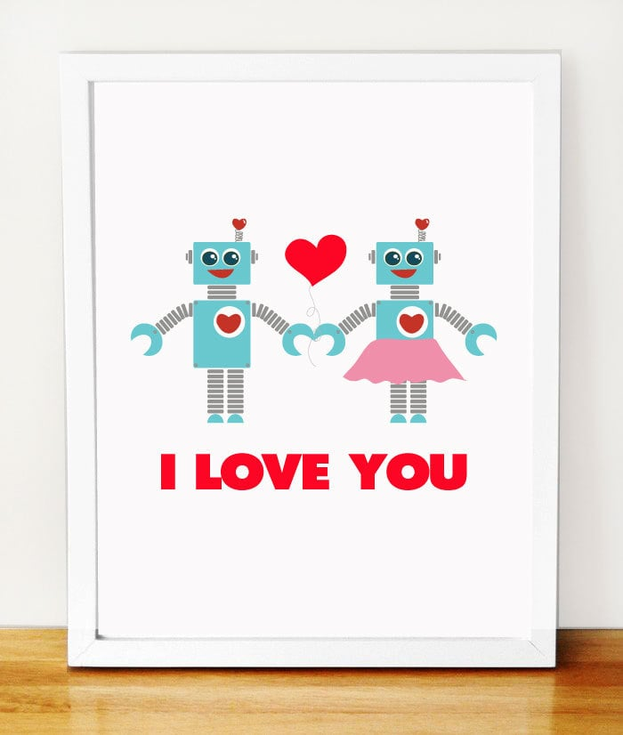 "Nothing says ""I love you"" like two robots holding hands ($12)."