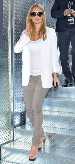 Model Bar Refaeli in Gray Jeans and White Blazer at the Madrid Masters