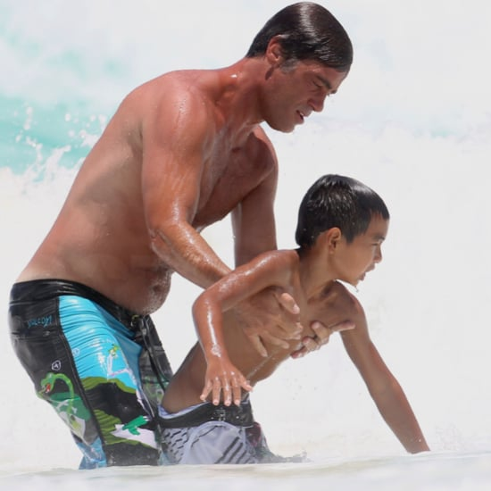 Brad Pitt Shirtless Pictures in Mexico With Sons Pax and Maddox