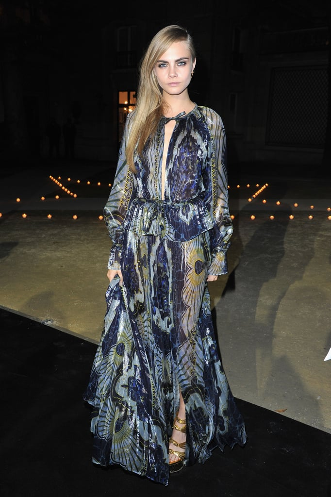 Cara Delevingne wore a floor-length printed and semisheer gown to the Carine Roitfeld for MAC party.