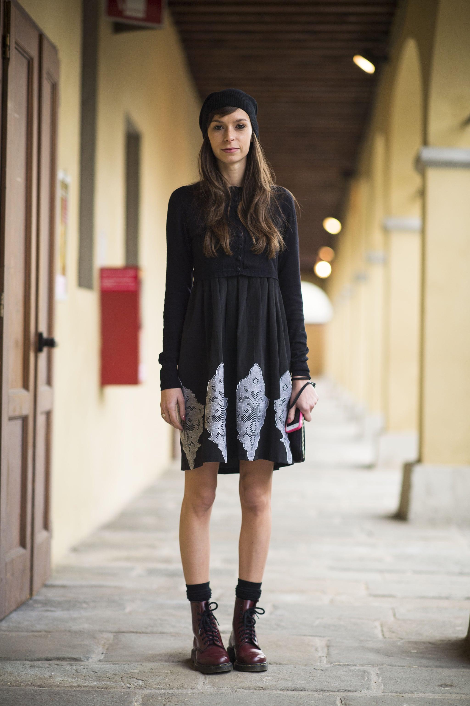 Give your dress the tough-girl effect with a pair of Dr. Martens. Source: Le 21ème | Adam Katz Sinding