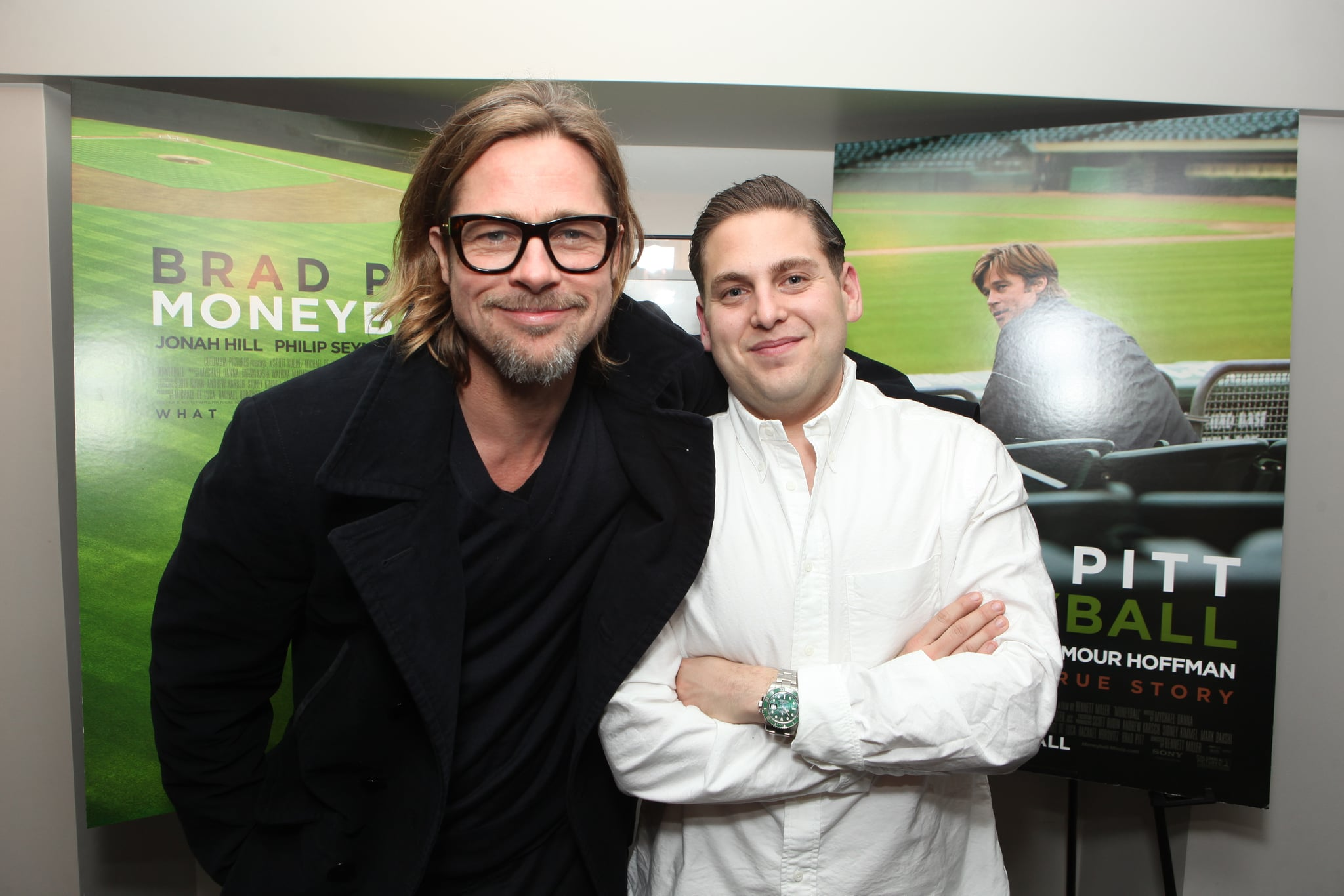 Brad Pitt and Jonah Hill were playful at Sony Pictures Studios.
