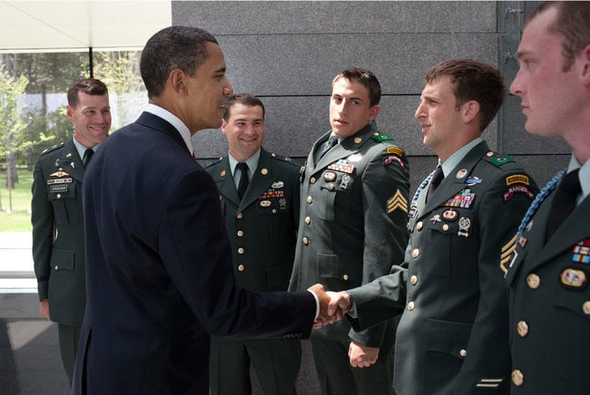 President Obama and Sgt. Cory Remsburg on the 65th anniversary of the D-Day landing on June 6, 2009. Source: The White House