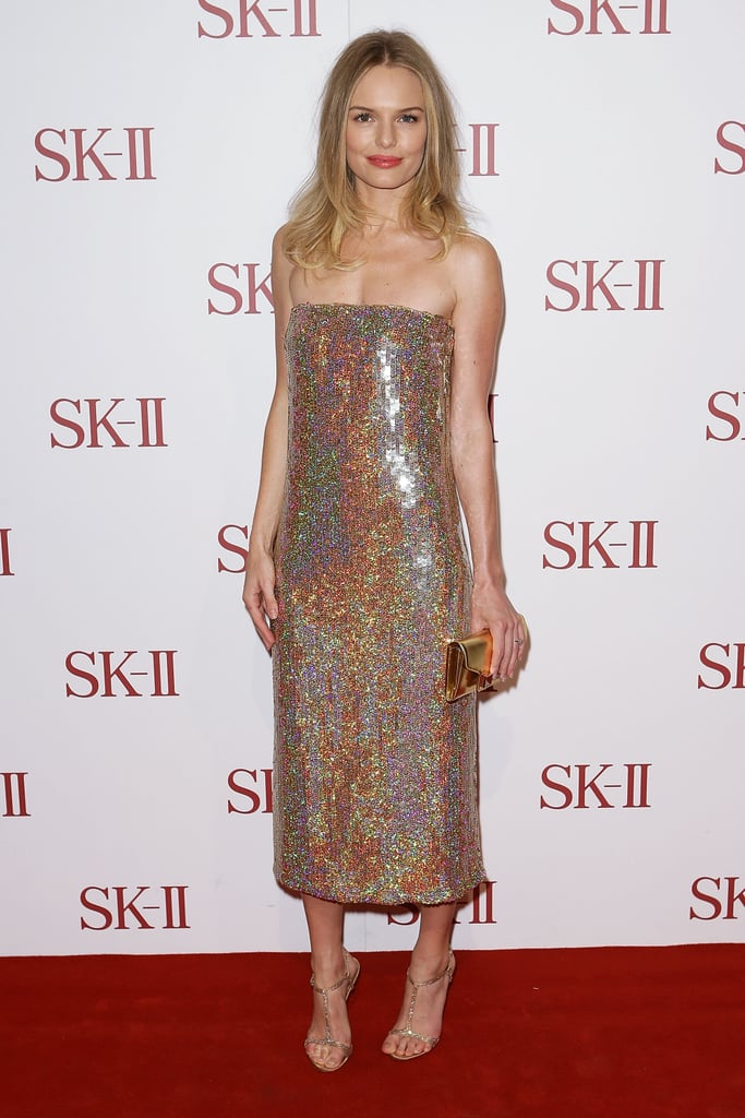 Kate simply glowed in a glittery strapless Stella McCartney dress at an event for SK-II in October 2012.
