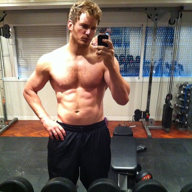 "Chris Pratt showed off the results of his training for Guardians of the Galaxy in July 2013. He said it was partly due to ""six months no beer."" Source: Instagram user prattprattpratt"