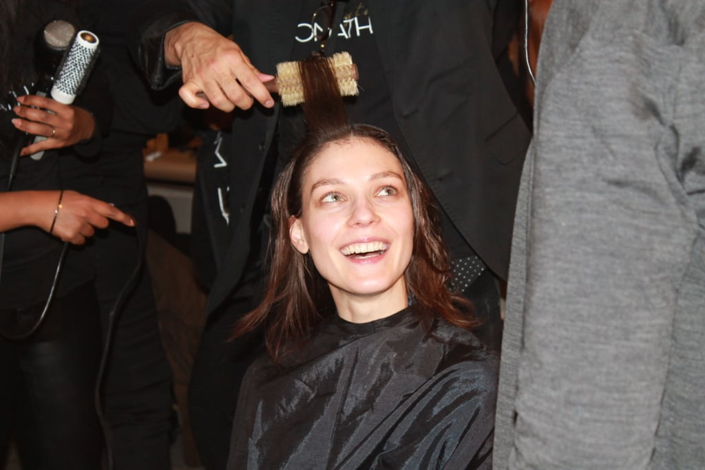 To pull off the look, Malige blew out the hair and flat-ironed it. He then split it down the middle and slicked it back, using Jonathan Product Silky Dirt Shine and Define Crème to give it texture. Photo: Maria Del Russo