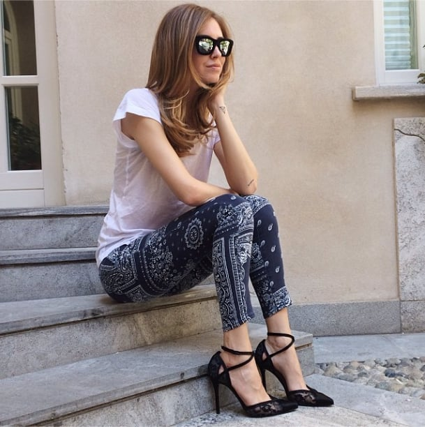 Wear your favorite, worn-in white tee on top, but add notice-me printed skinnies on bottom and finish with a pair of sky-high pumps. Source: Instagram user chiaraferragni