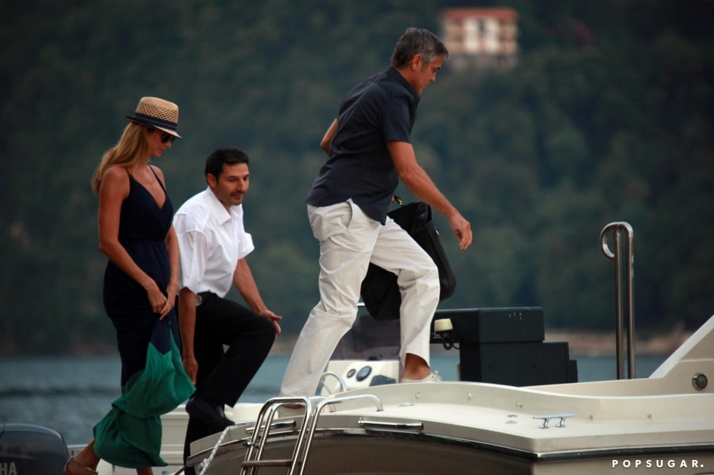 George Clooney and Stacy Keibler went for a sunset boat ride during a vacation in Lake Como, Italy in August 2012.
