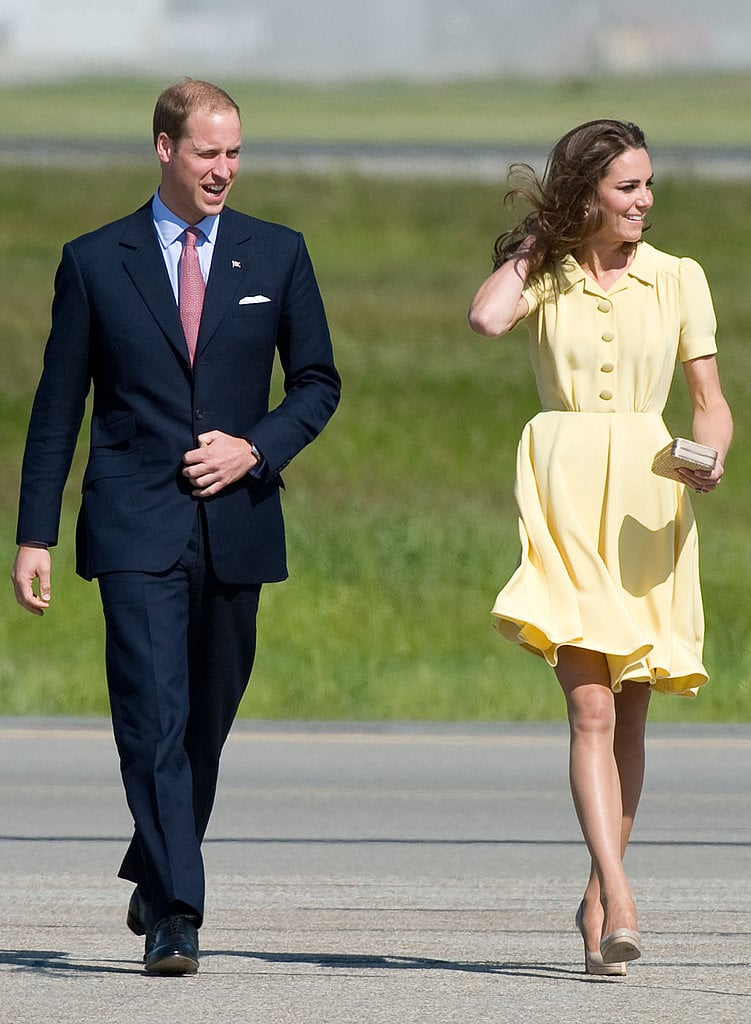 The Duchess of Cambridge stunned in a sweet yellow silk crepe Jenny Packham dress and her favorite LK Bennett beige pumps as they arrived in Calgary in July 2011.