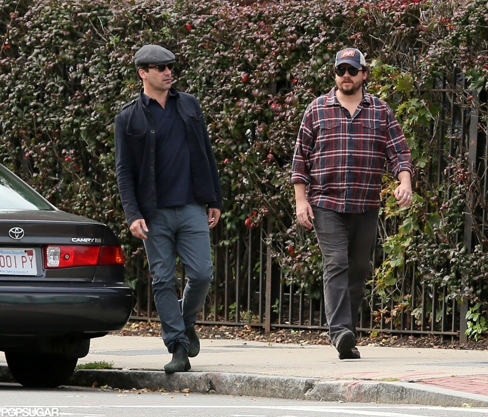 Jon Hamm and Danny McBride had a break from the set.