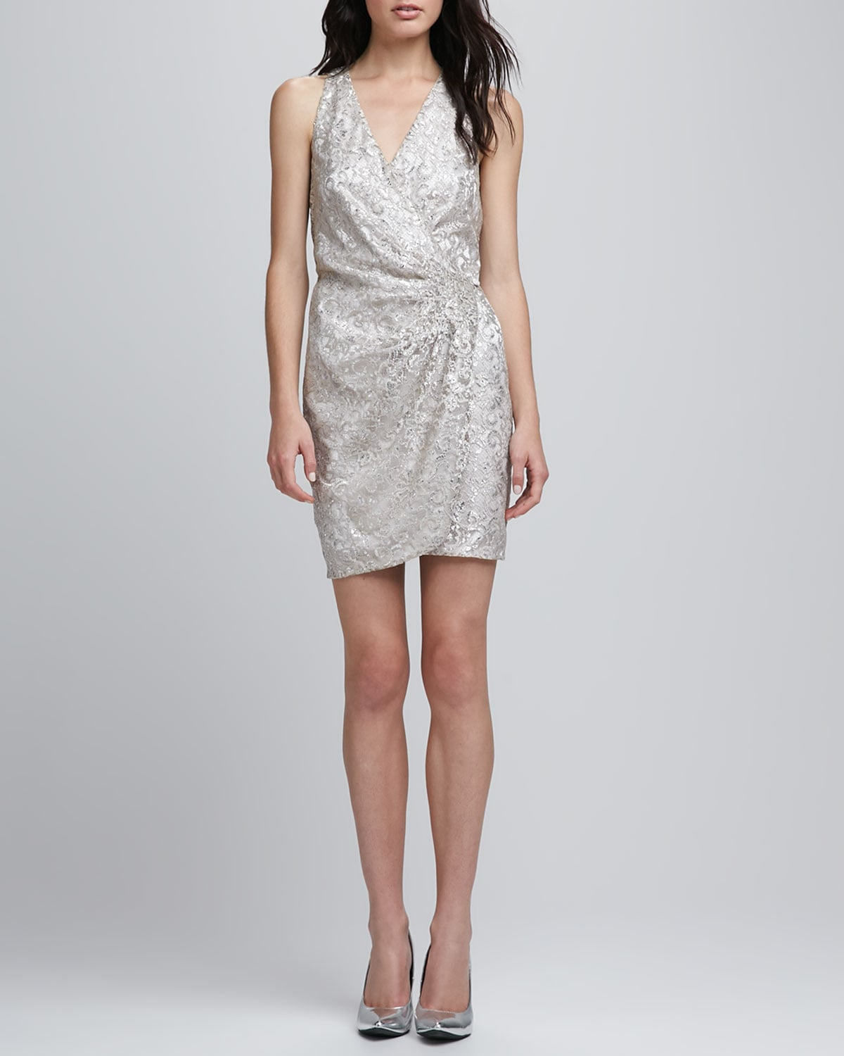 Parker Metallic Silver Lace Wrap Dress