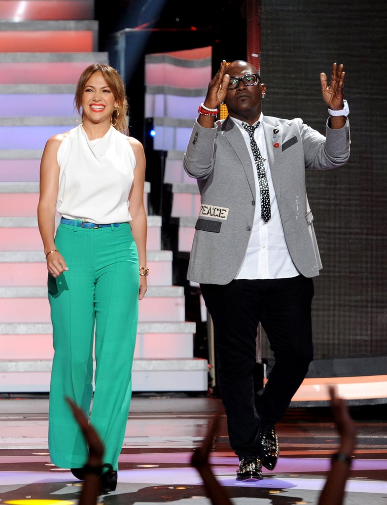 Jennifer Lopez wore bright green pants for the results show.