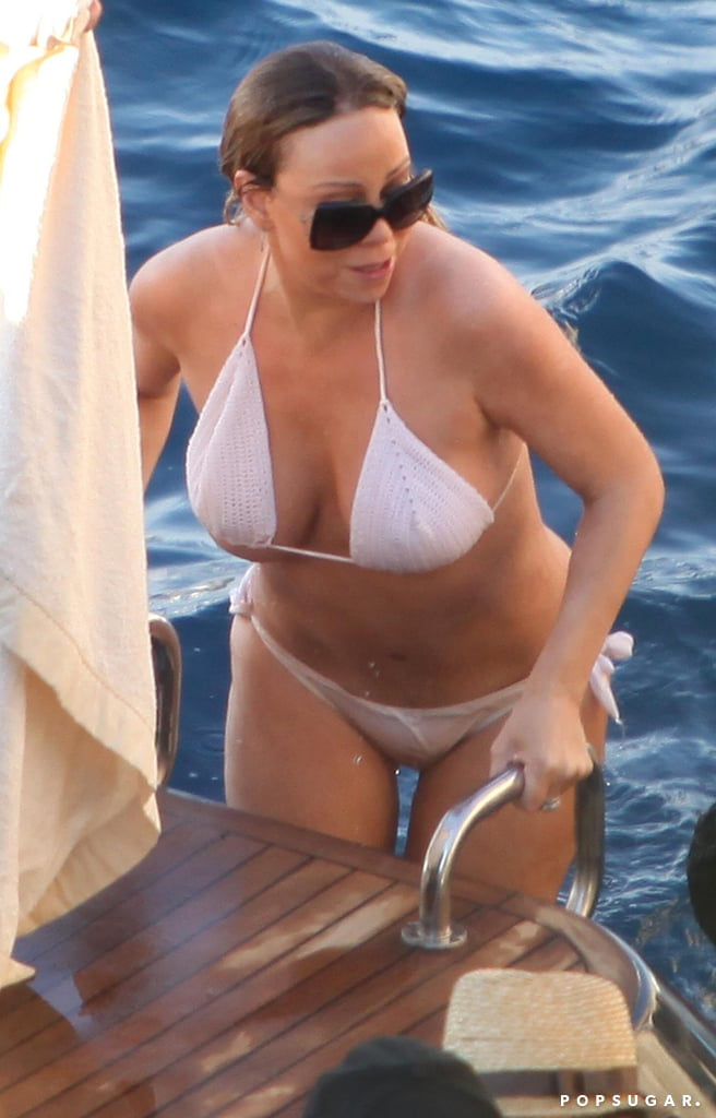 Mariah Carey climbed out of the water in Capri, Italy.