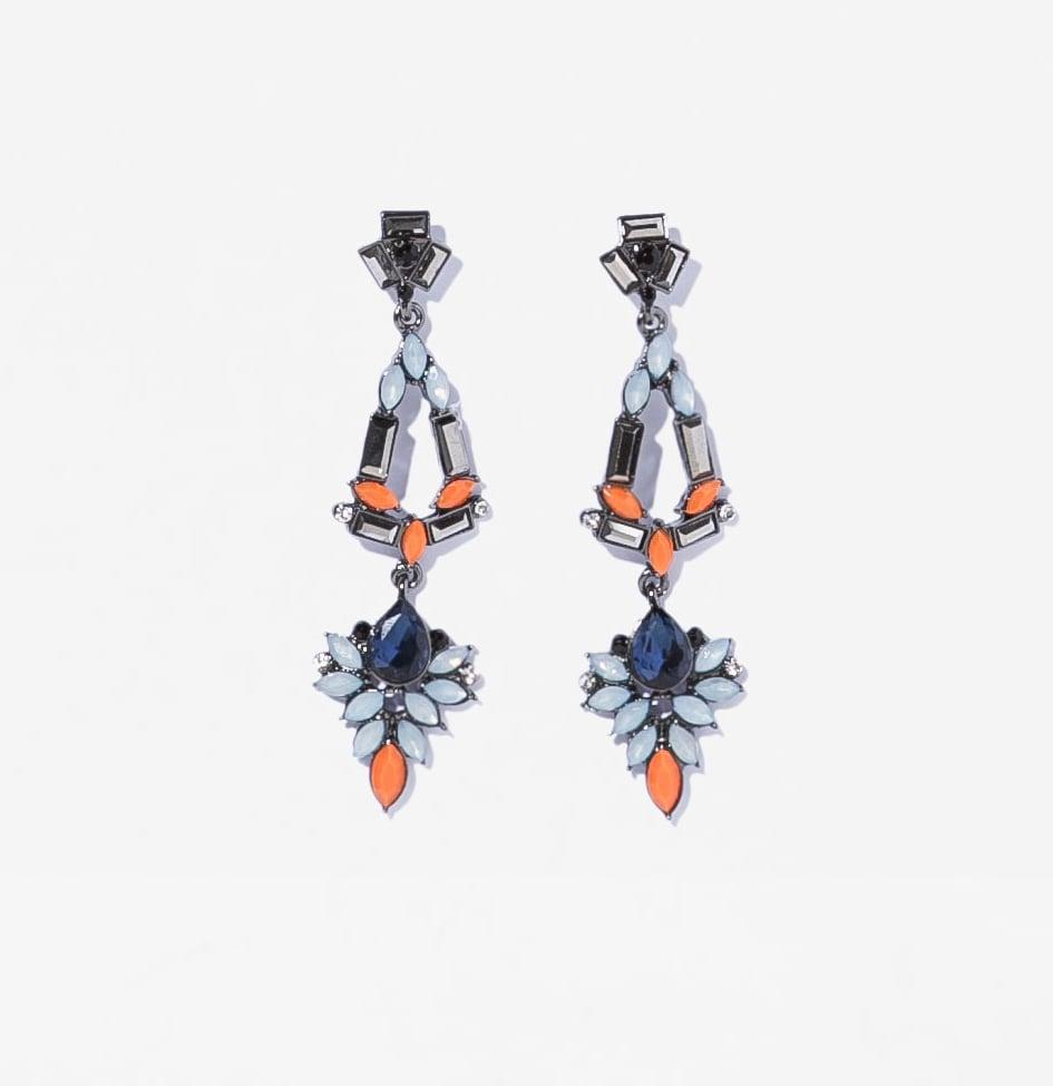Zara long orange and blue rhinestone earrings ($17)