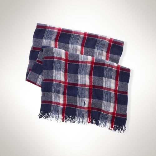 Polo Ralph Lauren Blue Point Wool & Linen Scarf