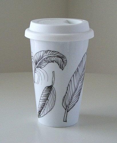 Ceramic Feather Coffee Tumbler
