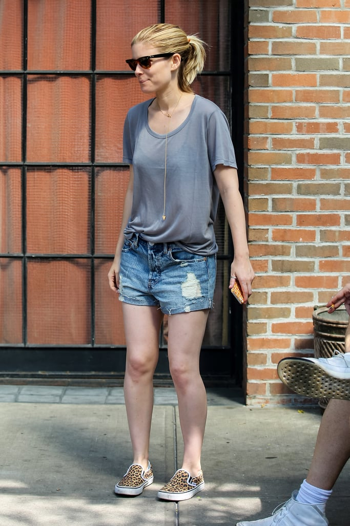 We'd borrow Kate Mara's cool-girl styling for our off-duty days. Just throw on your favorite tee and add skater slip-ons to channel the effect.