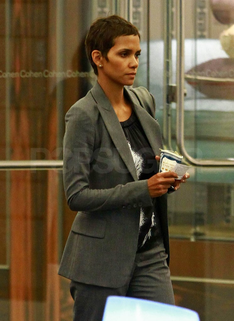 Halle Berry wore a gray suit.