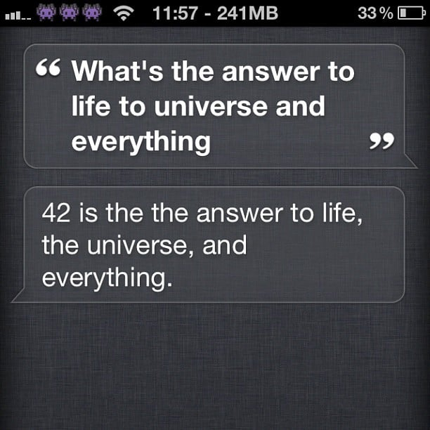 """4. The Number 42 Is the Answer """"'Forty-two,' said Deep Thought, with infinite majesty and calm."""" Of why Douglas Adams chose 42, the answer to the ultimate question calculated over a period of 7.2 million years, the author answered, """"The answer to this is very simple. It was a joke. It had to be a number, an ordinary, smallish number, and I chose that one. Binary representations, base thirteen, Tibetan monks are all complete nonsense. I sat at my desk, stared into the garden and thought '42 will do' I typed it out. End of story."""" It's a grave reminder that there is no absolute answer, and that one-size-fits-all responses are trivial. Source: Instagram user netviperz"""