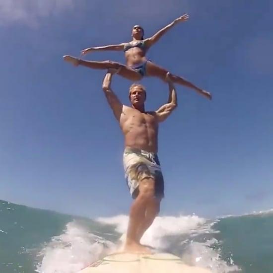 Couple Surfing Acrobatics   Video