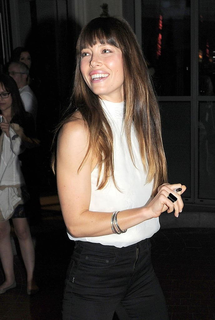 Jessica Biel signed autographs at a private screening of Total Recall in London.