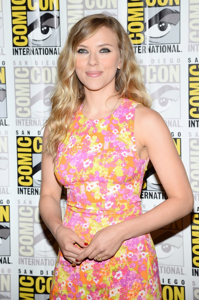Scarlett Johansson posed for photos at the press line for Captain America: The Winter Soldier.