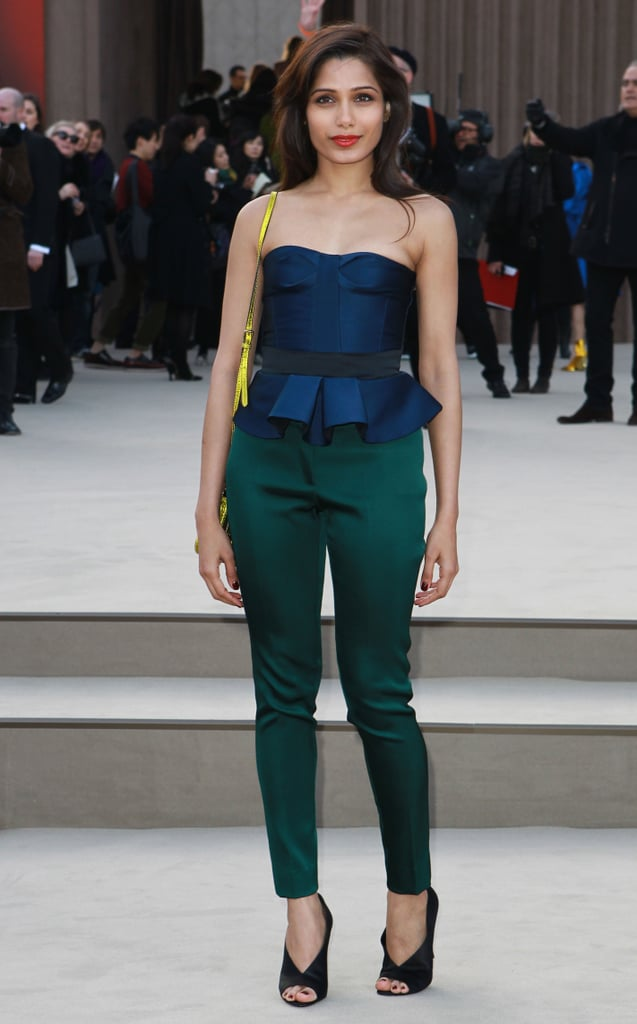 Freida Pinto wore jewel-colored tones to Burberry Prorsum's Autumn/Winter 2013 Paris fashion show in February.
