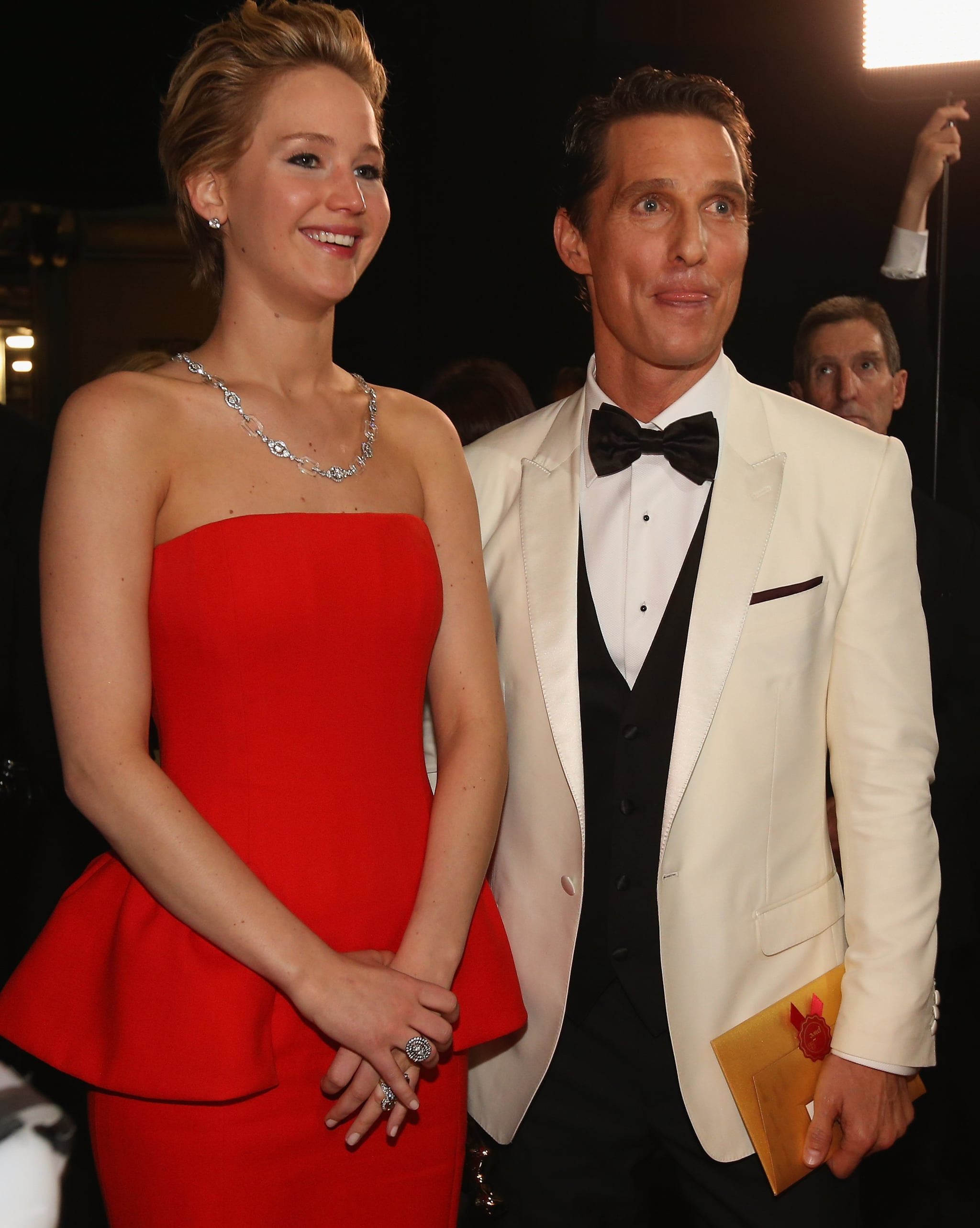 Jennifer Lawrence posed with Matthew McConaughey backstage after presenting him with best actor.