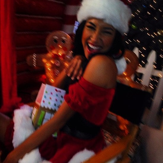 """Naya Rivera showed off her best """"Santa, Baby"""" outfit to show that Christmas is coming. Source: Instagram user nayarivera"""