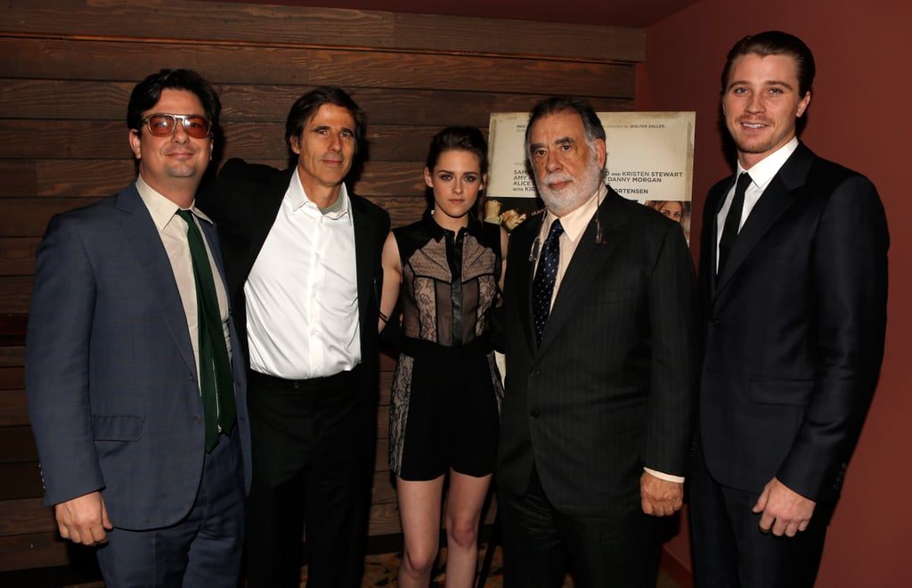 Francis Ford Coppola, Walter Salles, Garrett Hedlund, and Kristen Stewart posed for photos at the LA screening of On the Road.