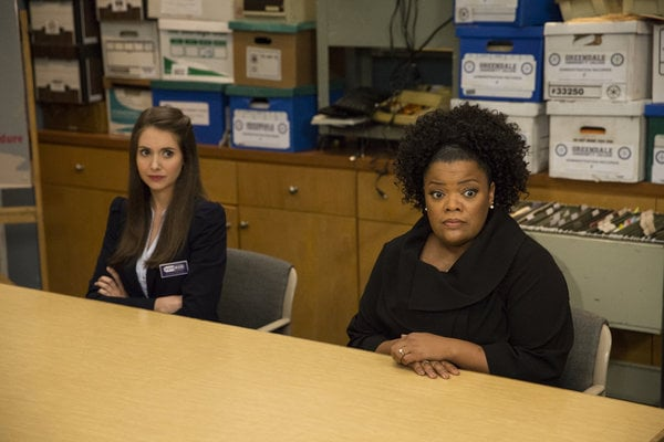 Annie (Brie) and Shirley (Brown) on Community's season premiere.