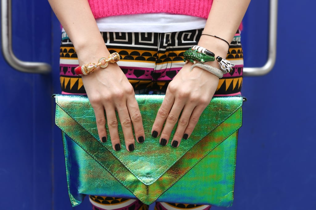 Metallic green was just the thing to rival tribal print and statement bracelets.