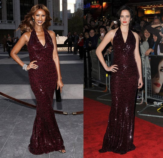 Eva Green and Iman Wear the Same Donna Karan Sequin Halter Gown